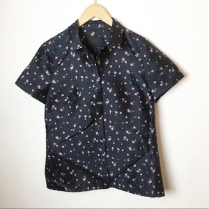 SZ 6 J. Crew Blue Floral Silk Wool Button Down
